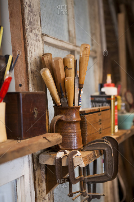 Close up of tools in a woodshop