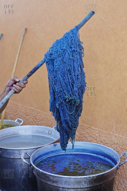 Yarn from indigo dyeing in vat in Mexico