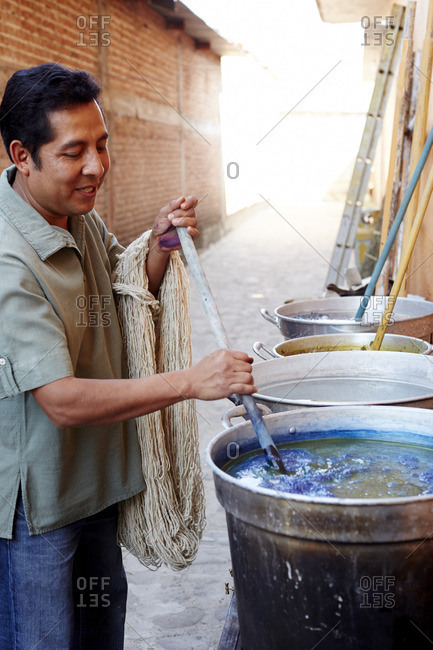 Mexico - October 27, 2016: Dyeing indigo in vat in Mexico