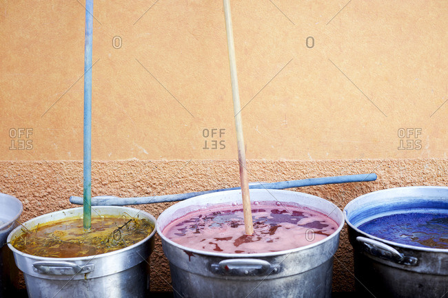 Natural dyes in buckets in Mexico