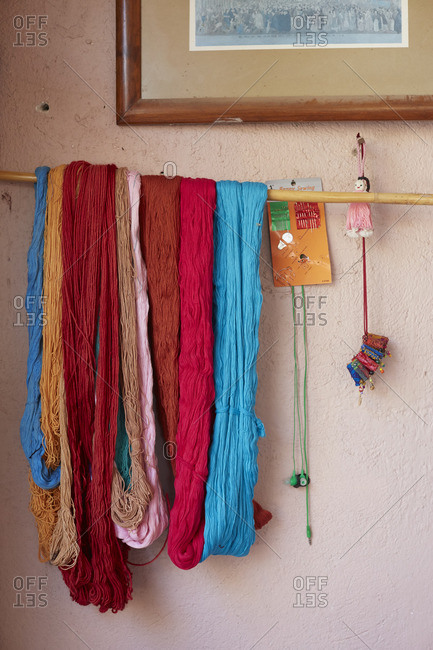 Yarn hanging in Mexican village