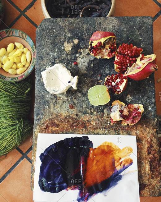 Pomegranate and natural dyeing materials