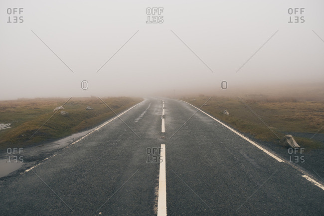 Foggy high way in Brecon Beacons, Wales