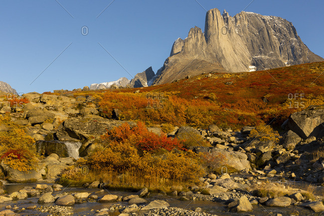 Autumn mountain landscape in Greenland