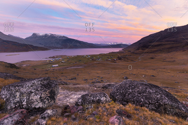 Colorful sunset sky over mountains in Greenland