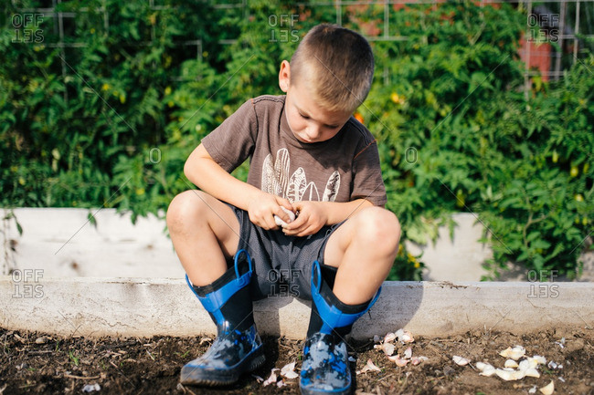 Boy in rubber boots sitting at the edge of a garden