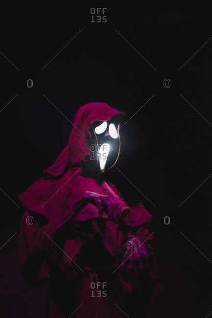 Halloween decoration of a ghost in a bright colored robe in Guangzhou, China