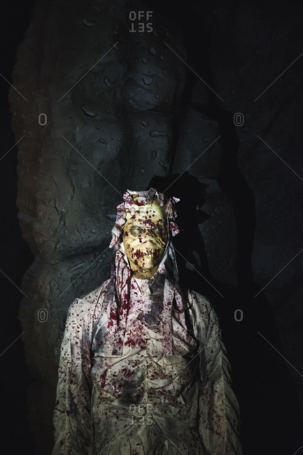 Mummified skeleton as a Halloween decoration, in Guangzhou, China