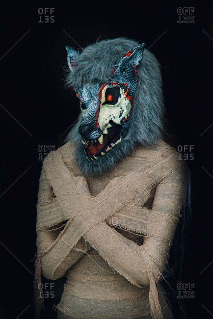Halloween costume of a werewolf mummy in Guangzhou, China