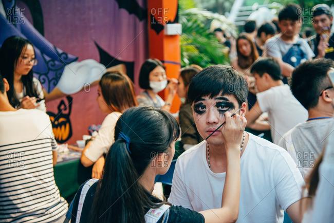 Guangzhou, China. - October 30, 2016: Halloween face painting