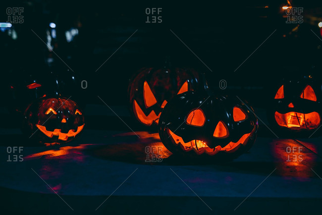 Scary carved pumpkins for Halloween