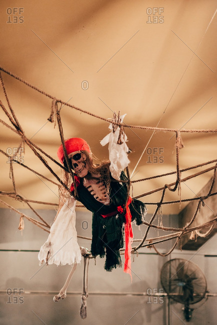 Halloween decoration skeleton dressed as pirate climbing on net