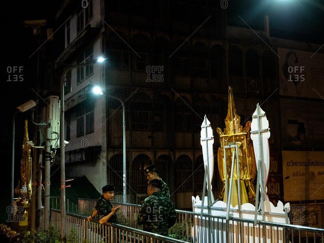 Bangkok, Thailand - October 13, 2016: Thai Army in front of Siriraj hospital in Bangkok where King Bhumibol passed away