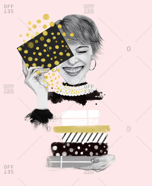 Illustration of woman smiling with joy and gratitude while holding gifts