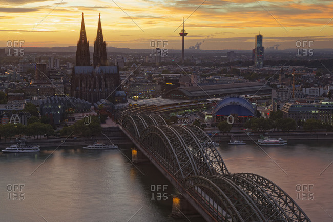 Germany- Cologne- view to the city from above at evening twilight