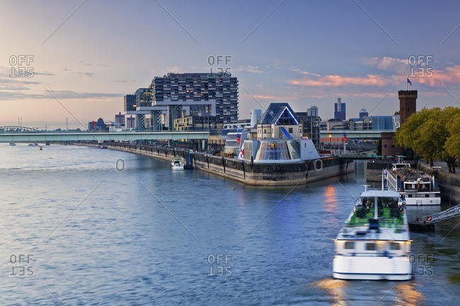Germany Cologne View To Crane Houses At Rhine Harbour And