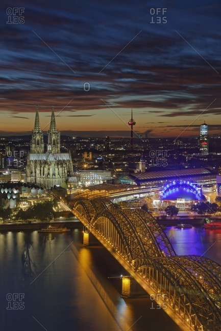 Germany- Cologne- view to the lighted city at evening twilight