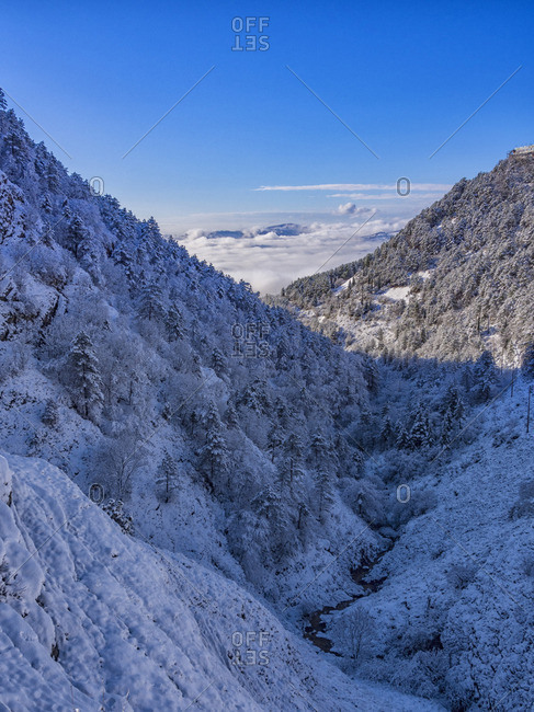 Italy- Umbria- Gubbio- View of the Apennine mountains