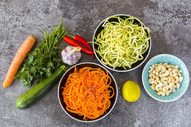 Ingredients of vegetable noodle salad