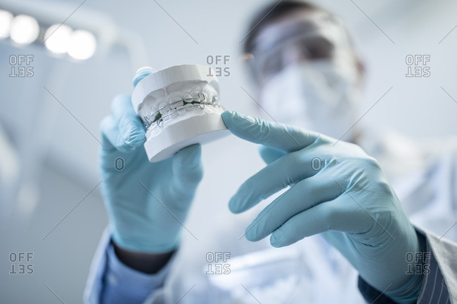 Orthodontist holding dental mold with braces