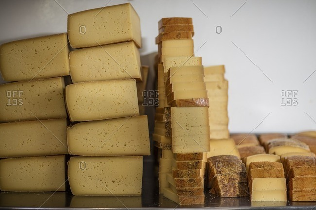 Cheese pieces in factory- ready to get packed