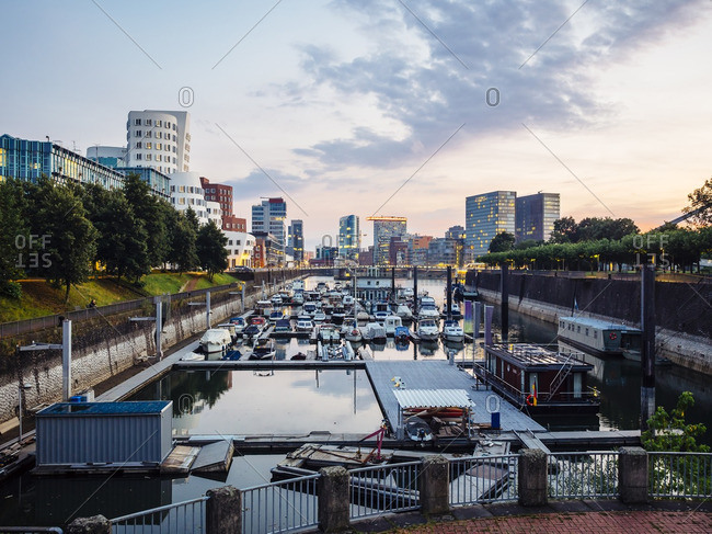 Germany- Dusseldorf- view to media harbor with city harbour in the foreground