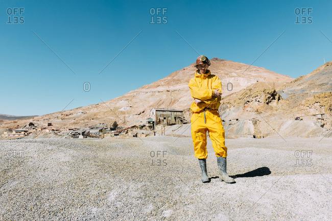 Bolivia- Potosi- tourist wearing protective clothing ready to visit the Cerro Rico silver mine