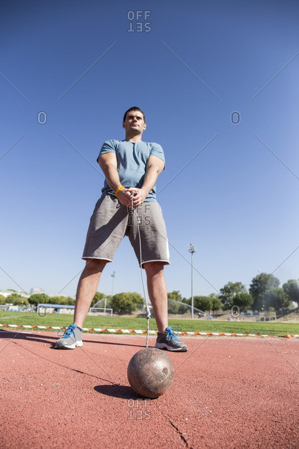 Athlete preparing for hammer throw