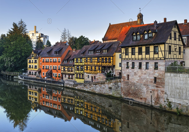 Germany- Stein- view to half-timbered houses at Regnitz River