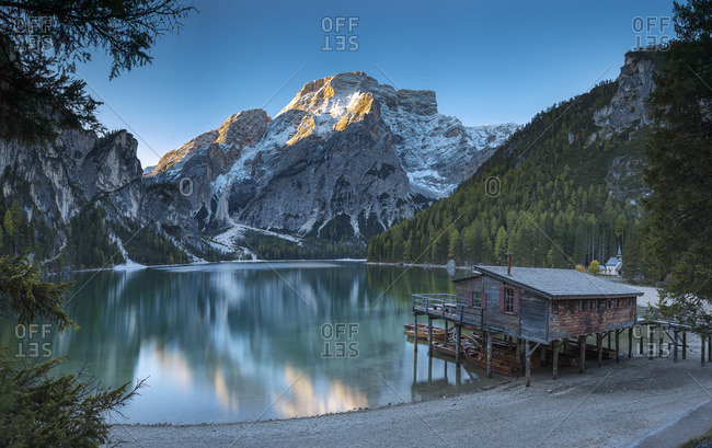 Italy- South Tyrol- Lago di Braies at sunrise