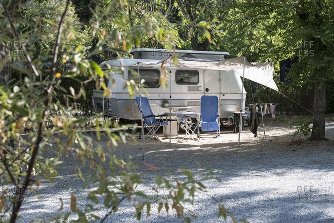 Caravan on campsite