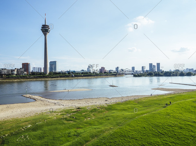 Germany- Duesseldorf- view to the city with Rhine tower- Media Harbour and Rhine River in the foreground