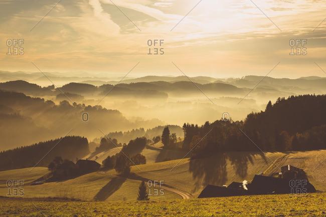 Austria- Muhlviertel- Autumnal landscape at sunrise