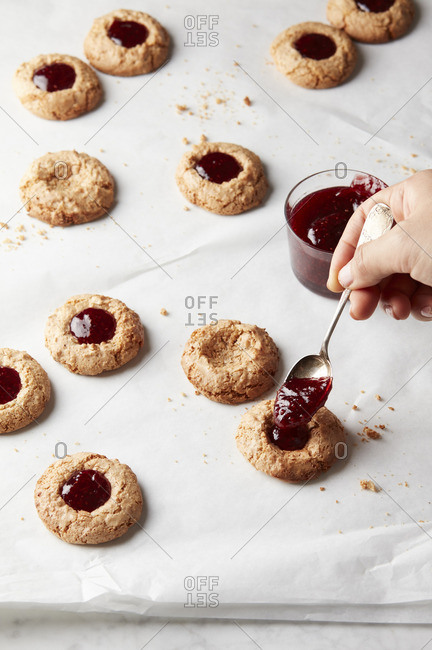 Thumbprint cookies with fruit topping