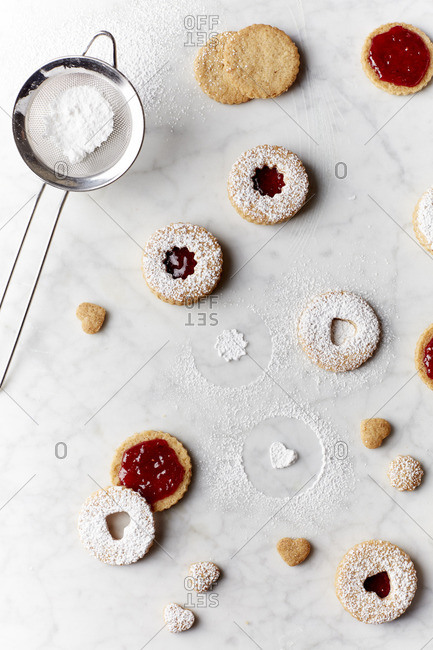 Assembling traditional linzer cookies