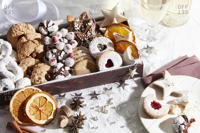 Holiday cookie varieties in box