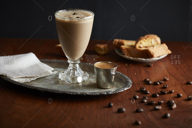 Coffee cocktail in a goblet