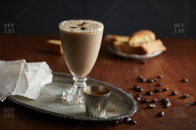 Coffee cocktail in goblet