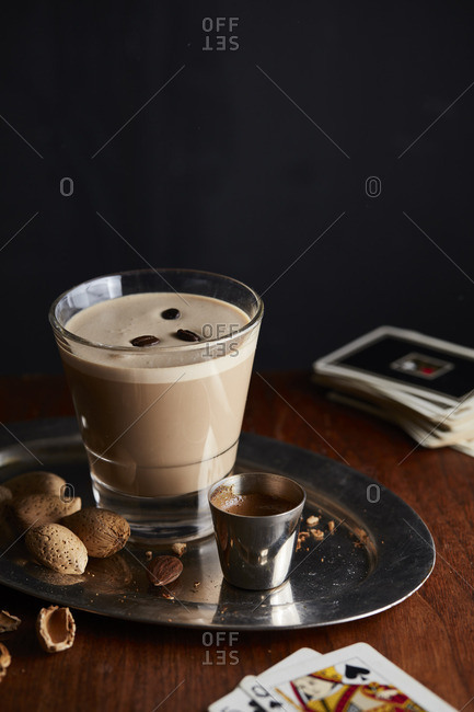 Coffee drink and playing cards