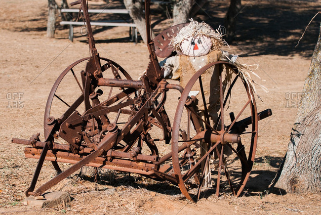 Rusted antique tractor wheels