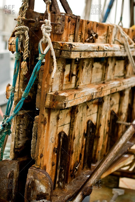 Close up of old weathered equipment on a fishing boat