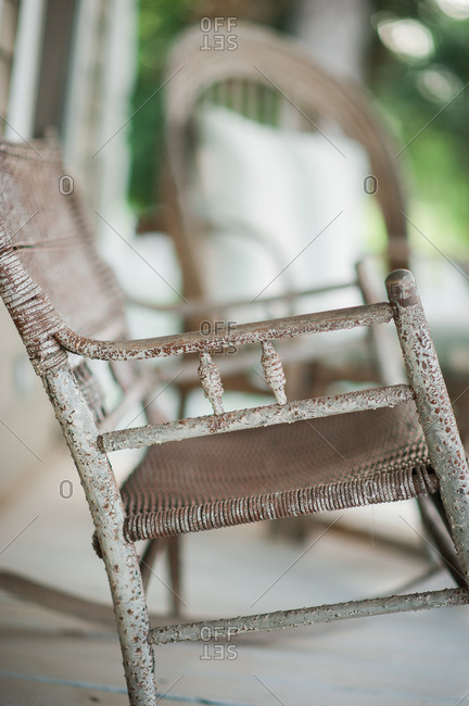 Wooden rocker on a front porch