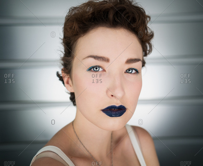 Woman wearing blue lipstick