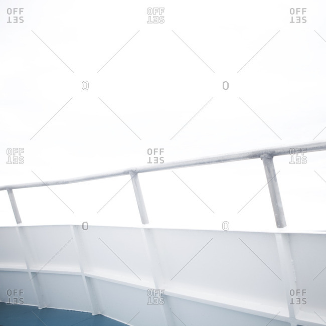 Metal railing and side on a ferry boat