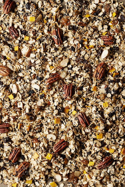 Homemade granola with pecans, almonds and seeds