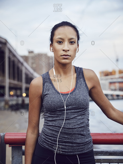 Portrait of a woman in workout clothing