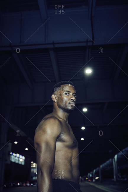 Portrait of a shirtless man during a workout