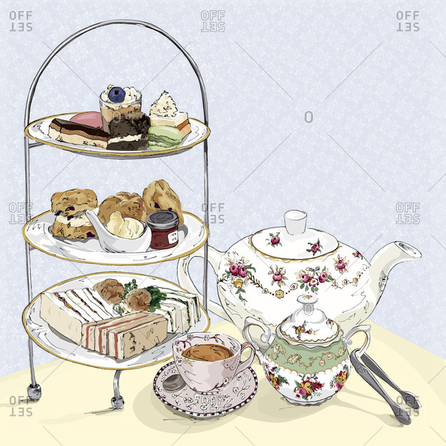 Tea and various desserts on platter