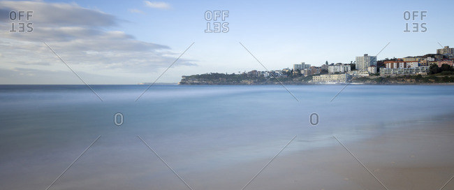 Long exposure image of sunrise at Bondi Beach,  one of the most famous beaches in Sydney, Australia