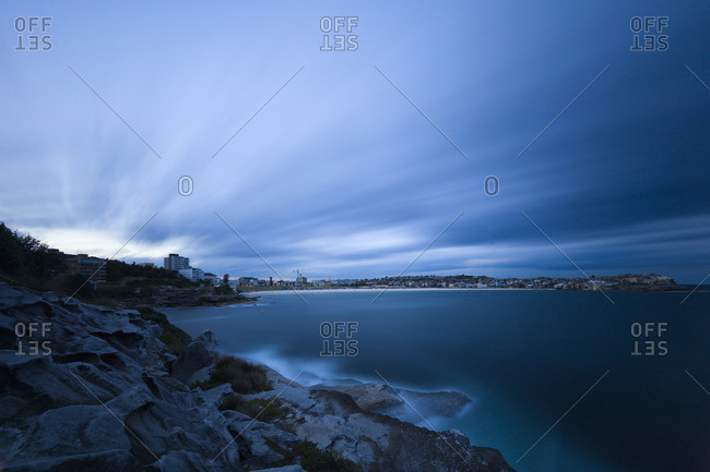 Evening falls over Bondi beach in Sydney, one of the best known beaches in Australia